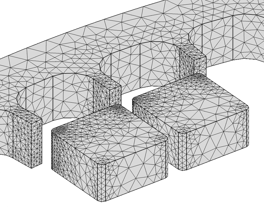 Mesh used in the 3D Finite Element model for the magnetic interaction