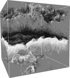 Density perturbations at the interface between semi-convective layers.