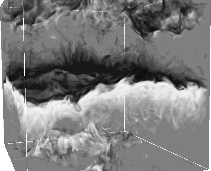 Density perturbations at the interface between semi-convective layers.